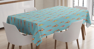 Watercolor Swimmers Tablecloth