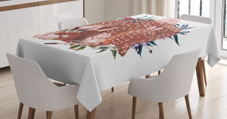 Deer with Hares in Forest Tablecloth