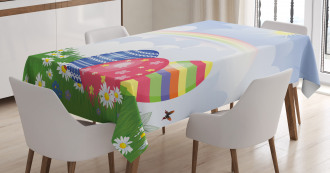 Spring Meadow with Eggs Tablecloth