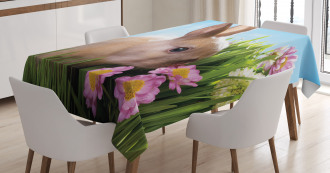 Grass and Spring Flowers Tablecloth