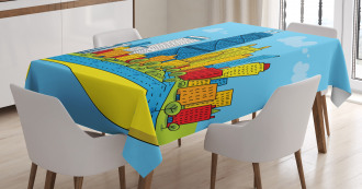 Cartoon City View Tablecloth