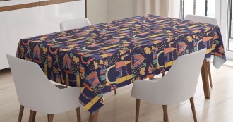 Circus Style Doodles Tablecloth