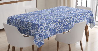 Delft Style Doodle Floral Tablecloth