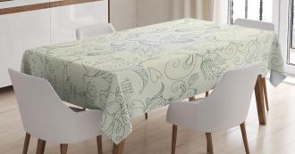 Doodle Garden Flowers Tablecloth