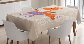 Fox with Clothing Flowers Tablecloth