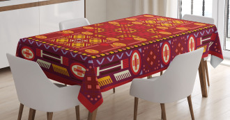 Shapes in Warm Colors Tablecloth