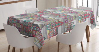 Amsterdam Sketch Houses Tablecloth