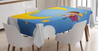 Cartoon Girl Flying Tablecloth