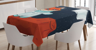 Fox Cosmonaut Space Tablecloth