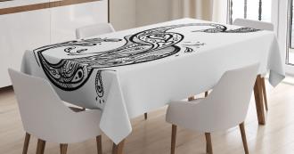 Oriental Peacock Figure Tablecloth