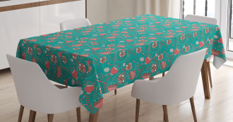 Abstract Flowers Dots Tablecloth