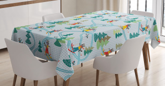 Cute Skiing Raccoon Tablecloth