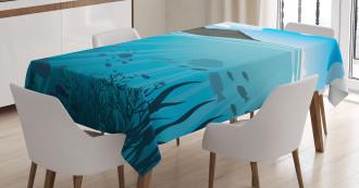 Fishes Sea Mountain Tablecloth