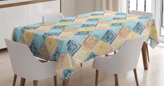 Tie Dye Rhombus Tile Tablecloth