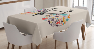 Bike with Retro Icons Tablecloth