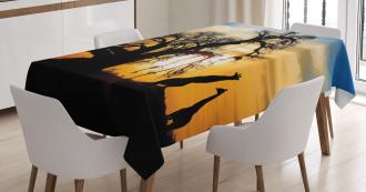 Giraffes Baobab Tree Tablecloth