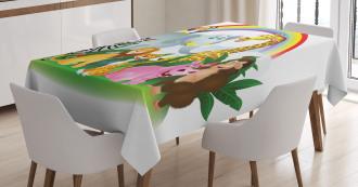 Animals Under Rainbow Tablecloth
