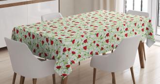 Twiggy Poppy Flowers Tablecloth