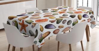 Watercolor Sea Elements Tablecloth