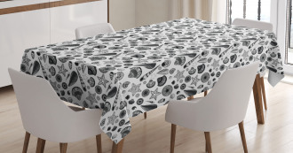 Black and White Clams Tablecloth