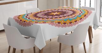 Ethnic Floral Motif Tablecloth