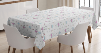 Cartoon Cat Kitten Lady Tablecloth