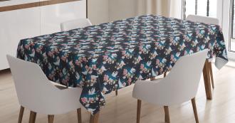 Cranes and Pinky Magnolia Tablecloth