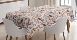 Minimalist Exotic Parrots Tablecloth