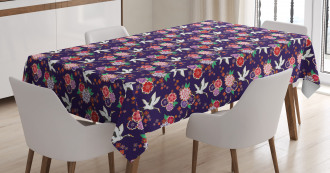 Flying Crane and Flowers Tablecloth
