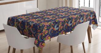 Mythical Rising Phoenix Bird Tablecloth