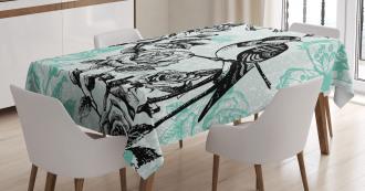 Mockingbird on Rose Tree Tablecloth