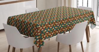 Retro Grid Triangles Tablecloth