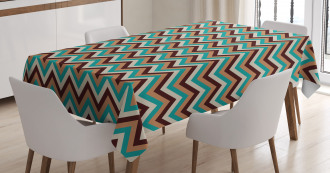 Retro Color Zigzag Line Tablecloth