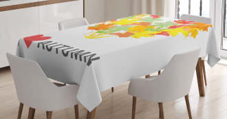 Maple Leaves with Heart Tablecloth