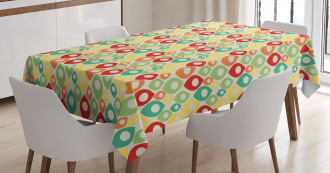 Colorful Shapes Print Tablecloth