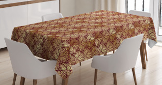Stylized Curvy Leaves Tablecloth