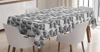 Vintage Sketch Sheep Tablecloth