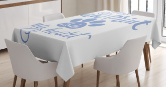 Paw Print is in My Heart Tablecloth