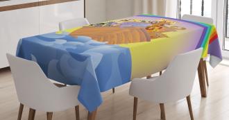 Animals Ship Rainbow Tablecloth