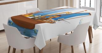 Animal Boat Sailing Tablecloth