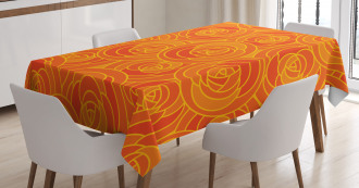 Outline Roses Autumn Tablecloth
