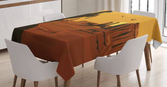 Sunset Scene and Cowboy Tablecloth