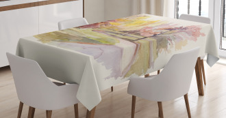 Watercolor Trees and Road Tablecloth