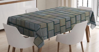 Stained Stone Brick Tablecloth