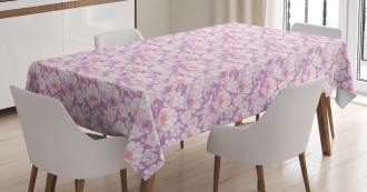 Pastel Flower Blooms Tablecloth