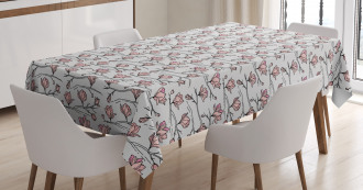 Linear Drawn Blooming Tablecloth