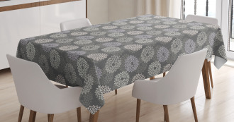 Abstract Dahlia Flowers Tablecloth