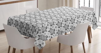 Nautical Ocean Fauna Icons Tablecloth