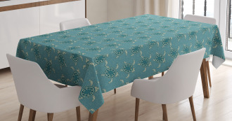 Floating Animals Flowers Tablecloth