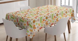 Jolly Cartoon Ant Flower Tablecloth